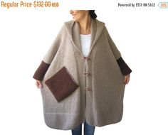 WINTER SALE 20% Plus Size Over Size Beige Mohair Overcoat - Poncho - Pelerine with Hood and Brown Pocket