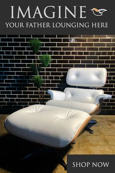 Give Your Father a Rest This Sunday With Our Luxury Leather Lounge Chairs Mid Century Modern Sofa, Mid Century Dining Chairs, Eames Style Lounge Chair, Luxury Chairs, Adirondack Chairs, Industrial Furniture, Mid-century Modern, Dining Table, Leather Lounge
