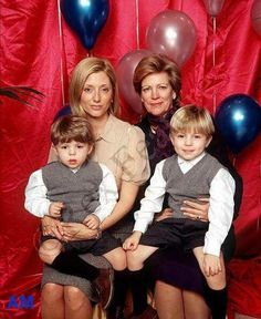 Queen Anne Marie of Greece with daughter-in-law Marie-Chantal, Crown Princess and Princes Constantine and Achilleas