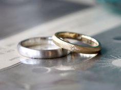 つや消しと飾り彫りの結婚指輪(オーダーメイド/手作り) [marriage ring wedding bridal Pt900 K18 gold マリッジリング ダイヤモンド ith ]