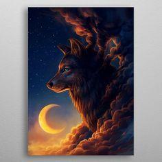✔ Anime Wolf Wallpaper The Moon Anime Wolf, Sky Anime, Artwork Lobo, Wolf Artwork, Fantasy Kunst, Fantasy Art, Animals And Pets, Cute Animals, Animals Amazing
