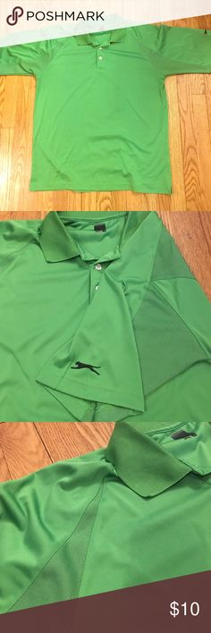 Men's Performance Polo Size Large . Green performance moisture wicking polo. Has black logo on sleeve and under collar on back . Has fine checkered pattern on sleeves and parts of the back for texture . No stains. Ask me about bundling all 3 men's polos Slazenger Shirts Polos