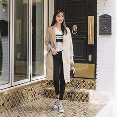 #envylook Stripe Cuffs Single-Breasted Coat #koreanfashion #koreanstyle #kfashion #kstyle #stylish #fashionista #fashioninspo #fashioninspiration #inspirations #ootd #streetfashion #streetstyle #fashion #trend #style