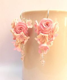 #Pink #earrings  Flower earrings  Pink roses  Roses by #insoujewelry