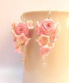 #Pink #earrings Flower earrings Pink roses Roses by #insoujewelry