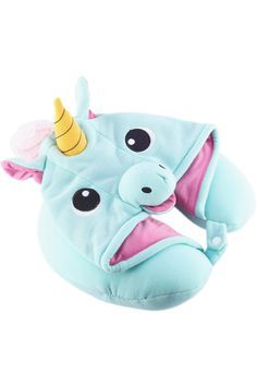 Whisk yourself away to the land of magic and dreams no matter where you are with our kigurumi-inspired Unicorn Neck Pillow! Made of soft poly with a button snap enclosure and drawstrings on the hood f