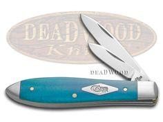 CASE XX Painted Desert Caribbean Blue Bone Tear Drop Jack 1/500 Stainless Pocket Knife