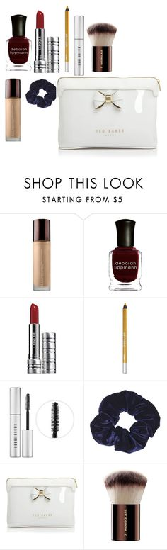 """""""My Makeup Bag"""" by design360 ❤ liked on Polyvore featuring Deborah Lippmann, Clinique, Urban Decay, Bobbi Brown Cosmetics, Topshop, Ted Baker and Hourglass Cosmetics"""