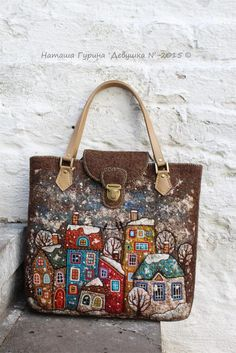 By Natalia Gurina Quilted Purse Patterns, Leather Tooling Patterns, Felt Purse, Felted Slippers, Boho Bags, Fabric Bags, Wet Felting, Louis Vuitton Speedy Bag, Wool Felt
