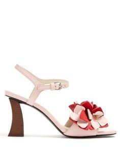 1660cbf83 Floral-appliqué leather sandals