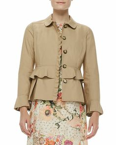 Delia Ruffled Cotton Jacket by Tory Burch at Neiman Marcus.