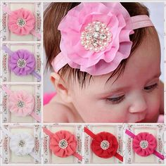 Best Quality Children Hair Accessories Baby Girls Large Flower Headbands With Ruffled Chiffon Flower Fashion Pearl Elastic Hair Bands Kha84 At Cheap Price, Online Children's Hair Accessories | Dhgate.Com