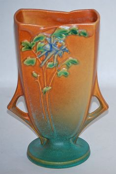 Roseville Pottery Columbine Brown Vase 19-8 from Just Art Pottery