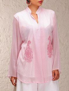 Pink Chiffon Chikankari Top #kurta #tunic #chikan #embroidered #handembroidered #indian