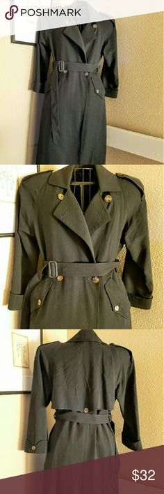 """Final Sale! Will Remove 4/1 Wool Trench Classic tailored look GUC wool full length lined Trench. 21"""" across chest, 22"""" sleeve, 44"""" long. One small thread pull near pocket (pictured), no fur/insulating layer, polyester lining only. Jackets & Coats Trench Coats"""