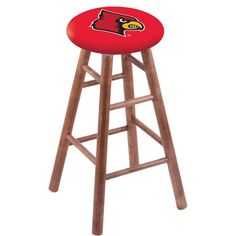 Louisville Cardinals Swivel Stool w/ Medium Brown Maple Wood Base