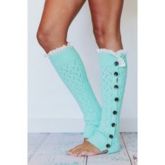 Women's Short Knitted Leg Warmer or Boot Topper with Open Lace Knit, Crochet Lace Trim, and Buttons for Stocking Stuffers in Mint