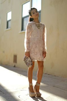 lace light pink dress.. love the dress.. way wrong shoes though