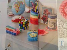 Crochet rainbow desk accessories | #crochet Issue 1 Autumn 2014
