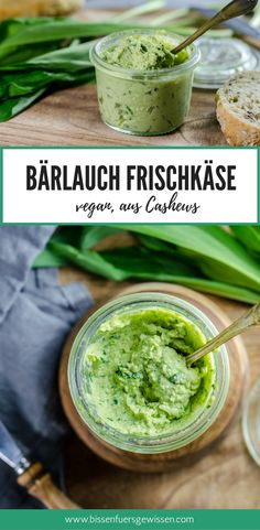 Veganes Rezept für Frischkäse mit Bärlauch, oder wie man in vegan sagt: Vrischkäse :) Mit eingeweichten Cashews. Ein perfektes Frühlingsrezept! Saisonal, vegan, regional