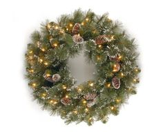 "$34.99-$34.99 National Tree 24"" Glittery Pine Wreath with Cones, Snowflakes and 50 Clear Lights (GP1-300-24W) - The 24 inch diameter of the Glittery Pine wreath makes it a versatile holiday decoration. Pre-lit and trimmed with pine cones and snowflakes, this wreath will provide holiday cheer wherever it is displayed. http://www.amazon.com/dp/B0019I7YIS/?tag=pin2wine-20"
