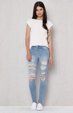 34c8a528962 Mae Blue Ripped Dreamy Jeggings Boyfriend Jeans, Mom Jeans, Ripped Jeans, Skinny  Jeans