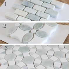 Such pretty tile! Ming Green and Thassos White Mosaic Backsplash Tile Backsplash For White Cabinets, Rustic Backsplash, Blue Backsplash, Mirror Backsplash, Beadboard Backsplash, Herringbone Backsplash, Kitchen Backsplash, Easy Backsplash, Dark Countertops