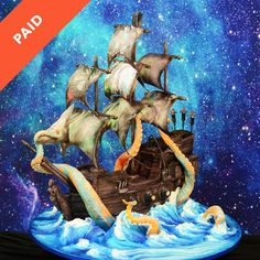 Skill level: Advanced Learn how to make a sculpted pirate ship cake with edible sails, yummy chocolate details, buttercream waves that are airbrushed to perfection and some really incredible cannons that shoot real fireworks! This cake is sure to be a real show-stopper! Tutorial includes templates for sculpting the cake shape, sail templates, recipes and …