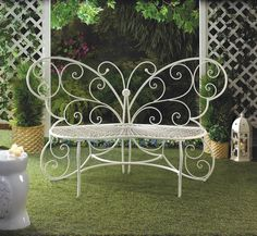 White Butterfly Garden Bench Outdoor Patio Furniture Porch Yard Iron Loveseat #Unbranded