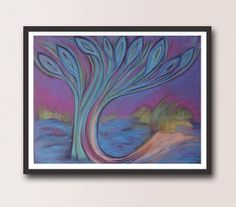 Peacock Feathers Tree Abstract Painting Canvas PRINT, Blue Purple Abstract Wall Art Decor, Christmas Art Gift Modern Abstract art by DHANAart on Etsy
