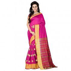 Cotton Silk Pink Saree - G02