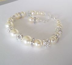 Rhinestone & Ivory Pearl Bridal by Uniquebeadables on Etsy