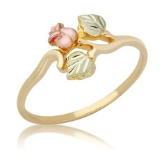 This charming black hills gold rose ring is crafted from yellow gold. The twisting, gold band gives this ring an organic look, the pink rose seeming to grow right out of the gold. The rosebud and leaves are crafted from black hills gold. Gold Gold, White Gold, Gold Leaf, Gold Nail, Yellow Gold Rings, Gold Band Ring, Gold Bands, Ring Rosegold, Black Hills Gold Jewelry