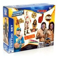 WWE Tattoo Set You can also draw your own tattoos with the cool stencil and gel pens This awesome set is great for WWE fans aged eight and up Includes: 10 x A5 sheets of temporary tattoos, Stencil, 2 Tattoo gel pens and Instructions Age 8 + www.kidswoodentoyshop.co.uk