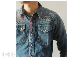 KAPITAL KOUNTRY] Shirts Denim Hand Paisley Damaged Western Shirts - takanna.com #fashion #shirts #kapital