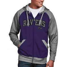 Baltimore Ravens Antigua Strategy Full Zip Hoodie - Purple