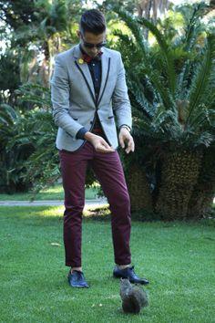 Grey blazer with navy piping, dark blue shirt, LVJ Haberdasher tartan bow tie, burgundy pants, Blue Brogues Burgundy Outfit, Burgundy Pants, Burgundy Shoes, Blazer Fashion, Mens Fashion Suits, Blue Brogues, Gentleman Style, Urban Fashion, Casual Outfits