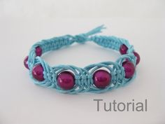 Macrame bracelet tutorial pattern pdf blue pink beads knotted instructions how to makrame handmade jewelery diy tuto christmas gift tutoriel