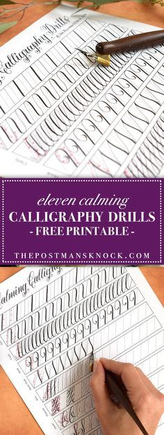 This unique calligraphy drills printable is perfect for calligraphers of all levels! It's fun and relaxing to fill out, and it's great practice to boot. How To Write Calligraphy, Calligraphy Handwriting, Calligraphy Letters, Modern Calligraphy, Calligraphy Practice Sheets Free, Calligraphy Alphabet Tutorial, Islamic Calligraphy, Copperplate Calligraphy, How To Do Calligraphy Tutorials