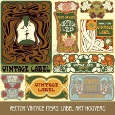 vintage items  label art nouveau Stock Photo  Same artist as others on shutterstock.  pricing i think is cheaper on 123rf.  i like the couple kissing for the love butter