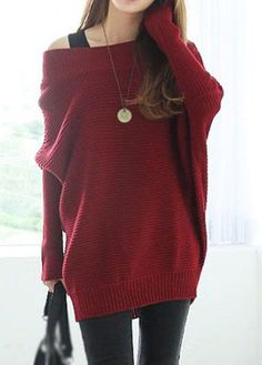 Burgundy Off the Shoulder Dolman Sleeve Loose Slouchy Sweater.