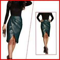 Vegan Leather Slim Hip Skirt - Color is a light shade of Black.Super soft PU leather pencil skirt with lots of style and subtle front slit. Size 4 is a small. Please refer to size chart for clothes measurements Skirts