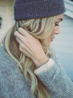 Camilla Pihl shows us how beanies can be chic. #winterhair #beauty