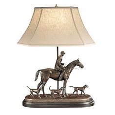 Hunter & Three Hounds Sculpture Lamp