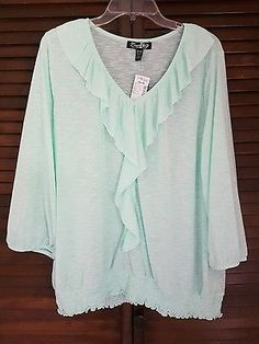 Women's Zena Woman Mint Ruffle 3/4 Sleeve Blouse Size 18/20