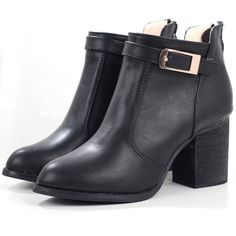 SheIn(sheinside) Black Buckle Strap Chunky Heel Boots ($39) ❤ liked on Polyvore featuring shoes, boots, ankle booties, ankle boots, botas, black, black booties, black high heel boots, chunky heel boots and black bootie boots