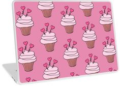 Cute Pink Hearts Cupcake Pattern | Design available for PC Laptop, MacBook Air, MacBook Pro, & MacBook Retina.