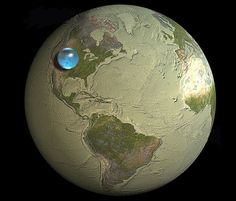 The above illustration shows what would happen if all of the water on or near the surface of the Earth were bunched up into a ball.