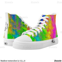 Rainbow watercolors printed shoes
