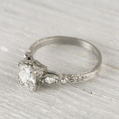 Image of .99 Carat Old European Cut Diamond Engagement Ring